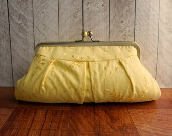 Yellow clutch bag, framed clutch purse, spring fashion, Lemon yellow clutch purse, eyelet clutch