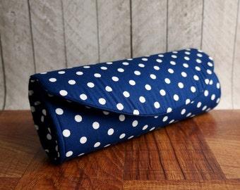 Navy blue clutch, blue and white rockabilly bag, retro polka dot purse.