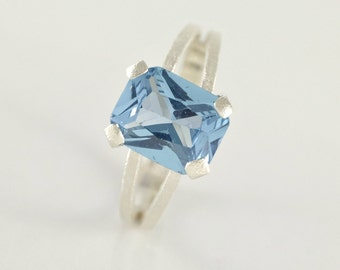 Blue Topaz Ring, Blue Topaz Engagement Ring, Sterling Silver Ring, Blue Topaz Jewelry, Emerald Cut Ring Gift for Women