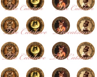 """Cat Magnets, Victorian Cat Magnets, Victorian Cat Pins, Dressed Cats and Dogs, Badges, 1"""" Inch Cabochons,  Hollow Backs, Flat Backs, 12 ct"""