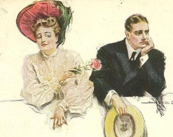 "Howard Chandler Christy Vintage Postcard ""Teasing"" Pensive Man and Flirtatious Young Woman 1909"