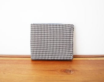 Black and Grey Houndstooth Wool Bifold Mens Wallet with Navy Blue Interior
