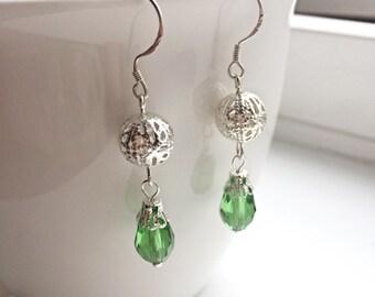 Green Filigree Dangle Earrings