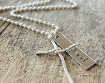 Men's Sterling Silver Necklace, Rustic Cross Necklace, Name Necklace, For Dad, Personalized Gift For Him, Bohemian Jewelry