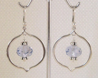 Provence Lavender Swarovski Crystals, Pomegranate Shaped Hoop Earrings:  French lavender, gifts for gardeners, lavender wedding, iris flower