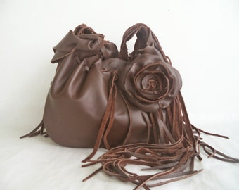 chocolate brown leather handbag, shoulder purse, messenger with flower, rose, fringe by Tuscada.  Made to order.