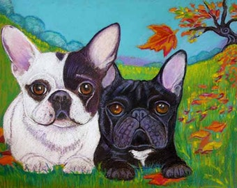 French Bulldog bulldogs art painting pied autumn leaves Brindle ORIGINAL Dog Art  French Bulldogs