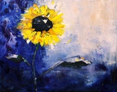 SALE To the Sun-16x20 Abstract Impressionism Sunflower Flower Oil Painting
