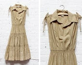 70s Khaki Dress S/M • Mindy Malone Tiered Dress | D346