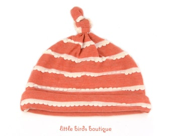 Top Knot Jersey Knit Baby Hat, Knotted Knit Beanie, Baby Gifts, Baby Hats, Newborn Gift Fall Cream Ruffles on Dark Orange