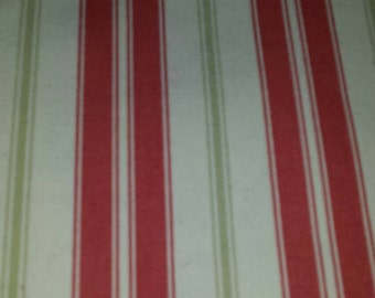 Fabric Upholstery White with Mauve and Light Green Stripes whole piece 2 1/4 yds