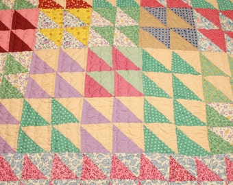 """Bright and Cheerful 1940s """"Little Cedar Tree"""" Vintage Quilt Piece with Many Calico Fabrics and Feed Sack Backing"""