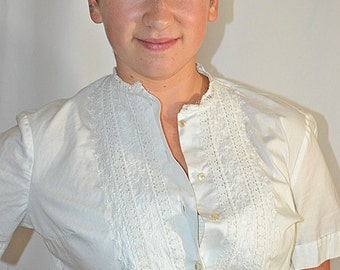 Vintage 1960s White Cotton Embroidered Lacy Blouse Shirt Sz M/L
