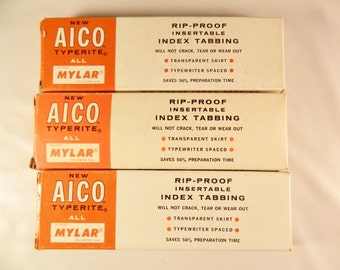 Vintage Aico Typerite Index Tabs- Clear- 1/2 inch- 3 Boxes