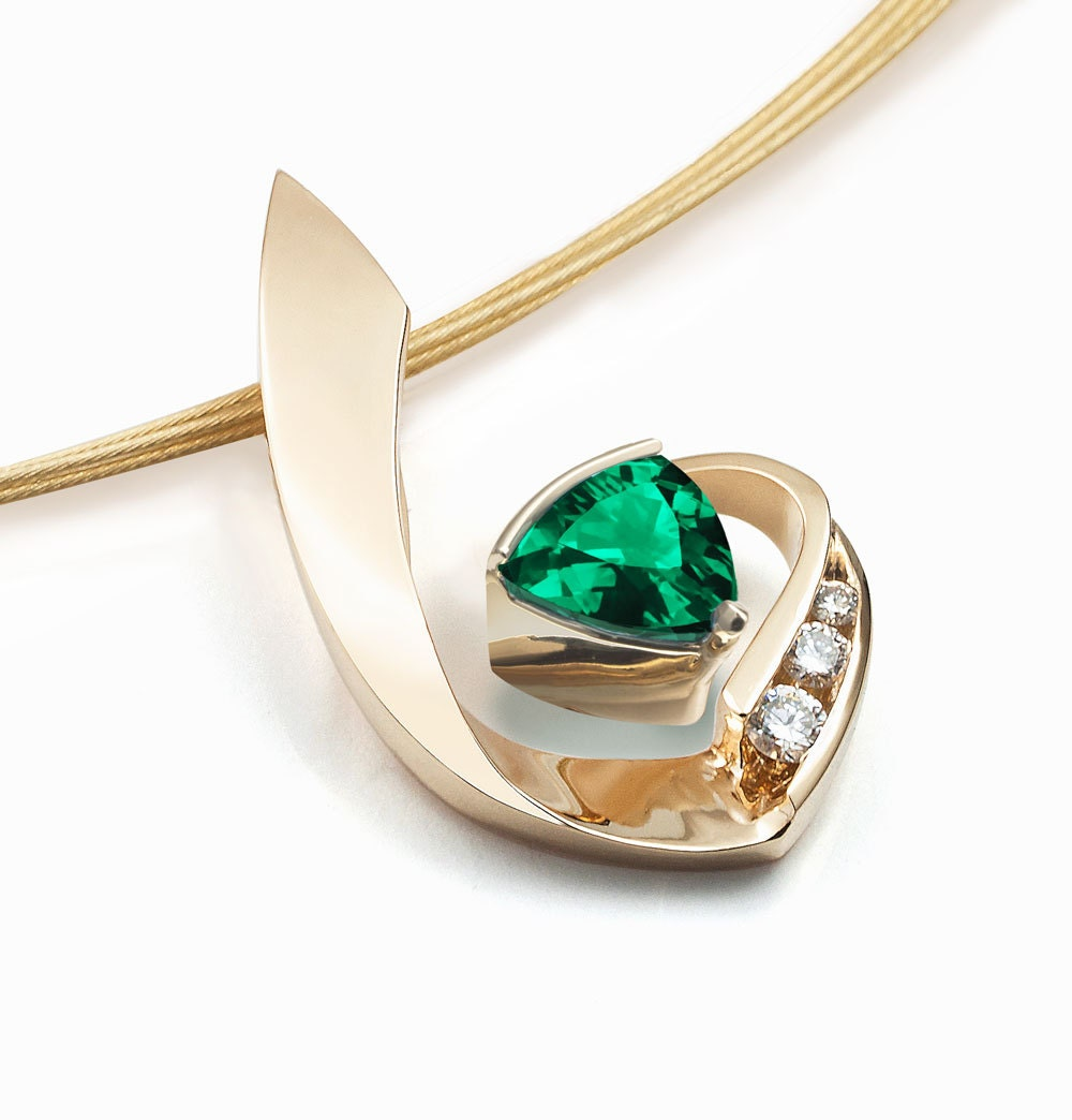 14k gold necklace emerald necklace diamond necklace may