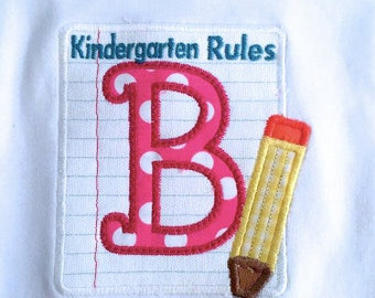 Embroidered  Paper and Pencil Alpha with Name choose Fabrics and Threads,Fonts , saying on top for School
