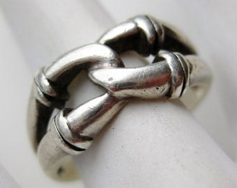 Vintage Celtic Knot Sterling Silver Interwoven Friendship Ring size 7