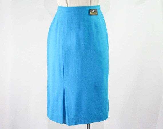 size 4 1950s turquoise pencil skirt small blue