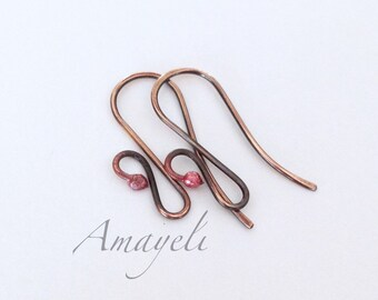 Fancy copper earwires artisan made 18 or 20g 5 pairs