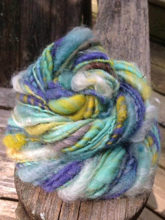 handspun Art Yarn - Blue To Aqua