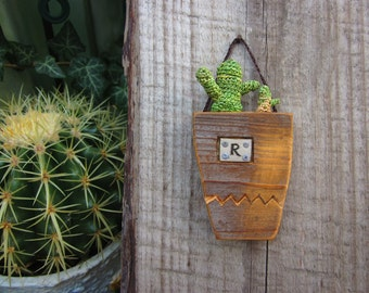 Reclaimed wood pot with cactus, Wall decor,  personalized gift, wood carving, wood sign, wood label, One of a kind gift ideas