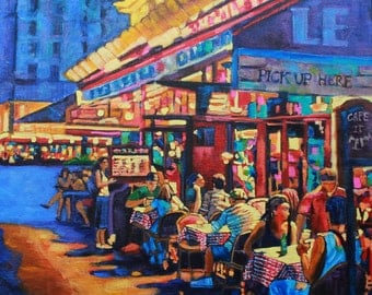 Art, Original Oil Painting, canvas art, Landscape Oil Painting, People, Food & Wine, Cafe Painting, by Rebecca Beal