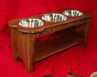 Elevated Large Dog Feeder Solid Oak Wood 16 Inch High Three Quart  FREE NAME and STAIN