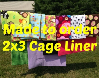MADE TO ORDER Reversible Cage Liner 2x3 for Guinea Pig Hedgehog Small Animals