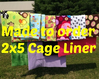 MADE TO ORDER Reversible Cage Liner 2x5 for Guinea Pig Hedgehog Small Animals