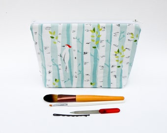 White Birch Tree Makeup Bag - Zipper Pouch - Birch Bark Cosmetic Bag