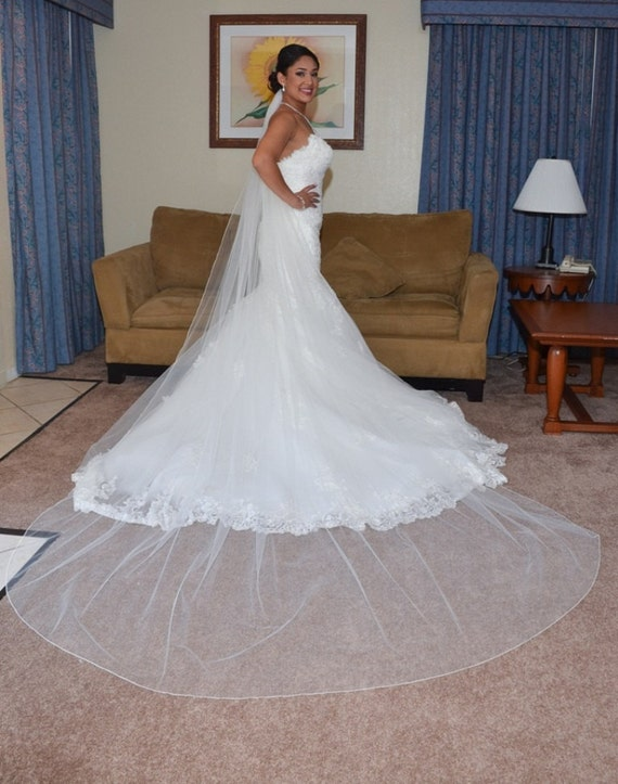 One Tier Cathedral Veil 108 Inches Long With Pencil Edge - Ships in 3-5 Business Days