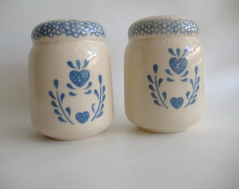 Folk Art Stoneware Salt and Pepper Shakers