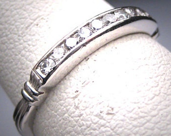 Antique Diamond Platinum Wedding Band Ring Vintage Art Deco Engagement