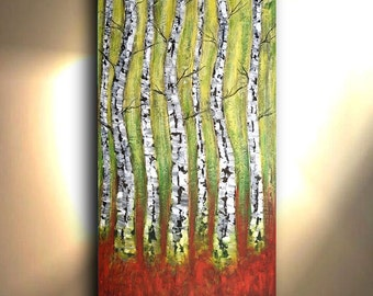 ORIGINAL Scenic Landscape Painting 72X36 Large Tree artwork Yellow Painting Aspen Contemporary Large Wall art canvas Oil Acrylic Impasto Oto