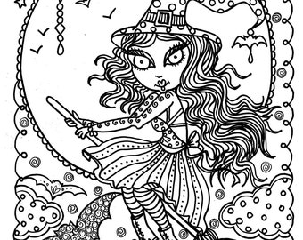 Cute Witch Halloween Coloring Page Fun Instant Download Immediately Color Away Fall Digi