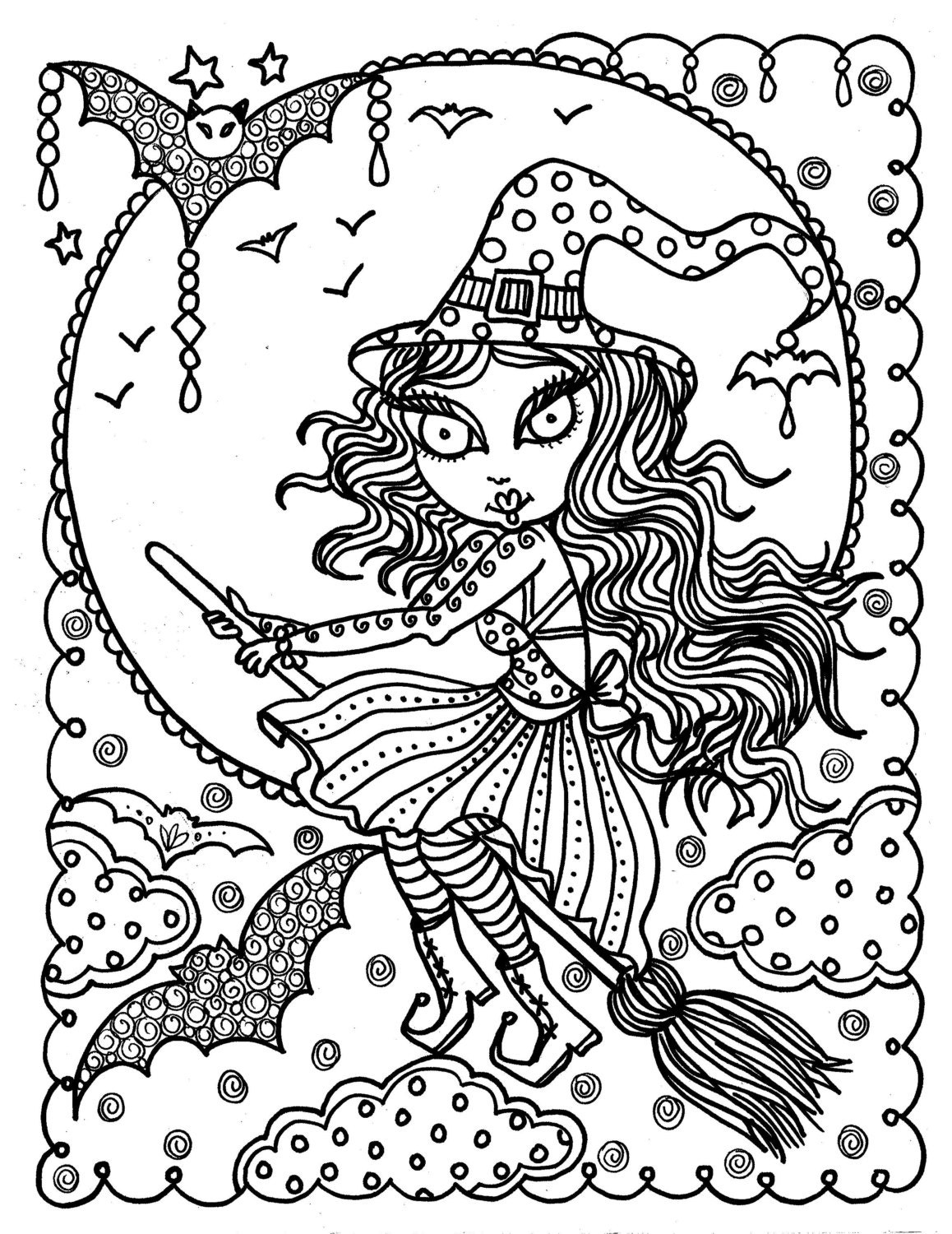 Cute witch halloween coloring page fun coloring instant for Halloween coloring pages for adults printables
