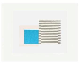 Scandinavian design screenprint, original handmade abstract minimal print by Emma Lawrenson