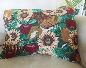 SUNFLOWERS and APPLES TAPESTRY Pillow!  Brighten your fall decor!  Living room, bedroom, den, office, or dorm!  13x18. Warm Autumn Colors!