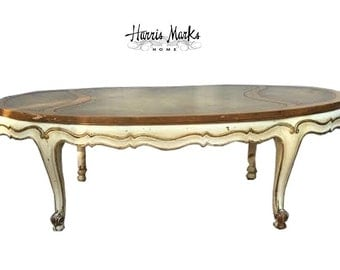 Weiman French Coffee Table Leather Top Oval Shabby Chic Gold Ivory Chippy Vintage Gold Leather Top Distressed PICK YOUR COLOR option
