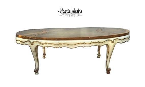 Weiman French Coffee Table Leather Top Oval Shabby Chic Gold Ivory Chippy  Vintage Gold Leather Top - Weiman French Coffee Table Leather Top Oval Shabby Chic Gold