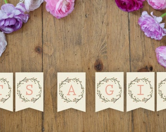 ITS A GIRL Watercolor/Wreath Bunting/Banner