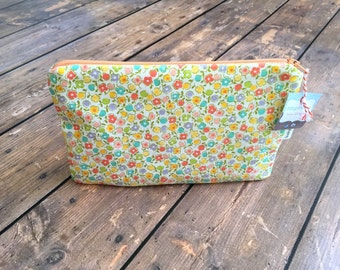 Clearance*** Pencil Case/Cosmetic Bag/ Gadget Case -  Tiny Flowers - Ready to ship