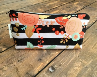 Pencil Case/Cosmetic Bag/ Gadget Case  - Black Stripe Floral- Ready to ship