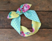 floral and polka dot reversible headscarf, yellow, pink, aqua, flowers, tie up headband, adjustable, spring summer, knotted headband