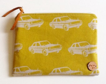clutch purse in vintage cars, mustard, vintage inspired, makeup bag, cosmetic bag, travel bag, summer fall fashion