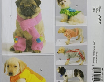 Dog Size Small Medium Large X-Large (See Pic 2) Coat Scarf Leg Warmers Costume Jog Suit Vest Puppy  McCalls M5776  Uncut Sewing Pattern
