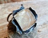 Rutilated Quartz Ring. Adjustable. Gemstone. Mineral Ring. Stone. Sterling Silver And Rutilated Quartz Ring.