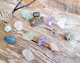 14 Minerals. Necklace With Interchangeable Minerals...Topaz, Herkimer, Emerald, Tourmaline, Meteorite, Charoite, Prehnite And More Minerals.