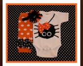 Baby Girl My First Halloween Itsy Bitsy Fuzzy Spider Set - Baby Girl Bodysuit Set Halloween