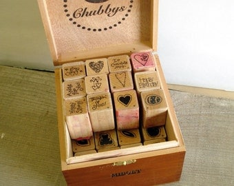 Wooden Cigar Box with 28 rubber stamps